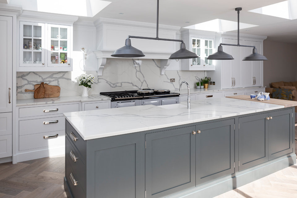 An image of a kitchen with Mason Quartz Calacatta Bold from Granite Tops exclusive brand and part of the Evolved Range
