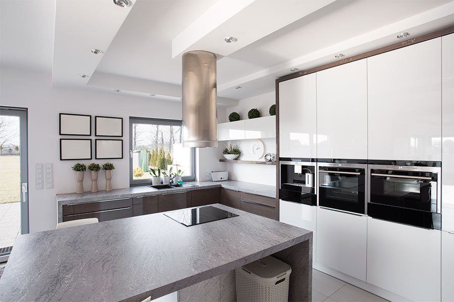 An image of an example of a kitchen using our Vesuvius colour from our Mason Quartz Evolved Colour Range